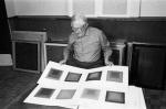 Josef Albers in 1971 in his studio, photo by Jon Naa